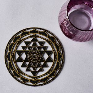 Coaster sized 140mm 5.5 inches Sri Yantra black with gold trim resonance plate 004_020