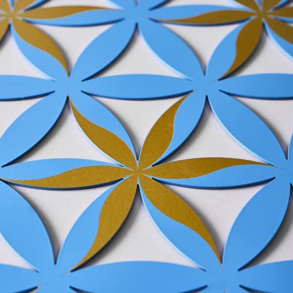 Flower of Life (Floral Pattern) Blue With Gold Trim