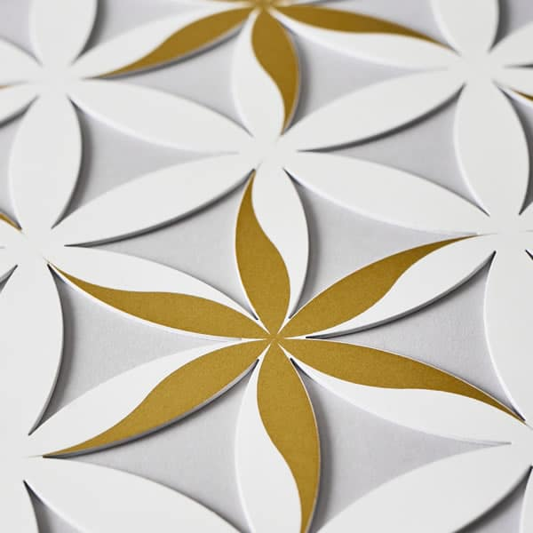 Flower of Life (Floral Pattern) Pearlescent White With Gold Trim