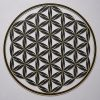 Flower of Life (Line Pattern) Black With Gold Trim