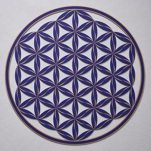 Flower of Life (Line Pattern) Indigo With Gold Trim