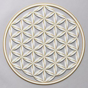 Flower of Life (Line Pattern) Pearlescent White With Gold Trim