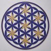 Flower of Life (Floral Pattern) Indigo With Gold Trim