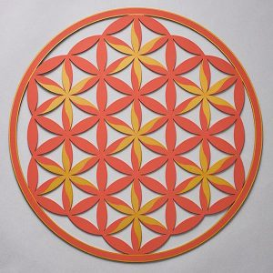 Flower of Life (Floral Pattern) Orange With Gold Trim