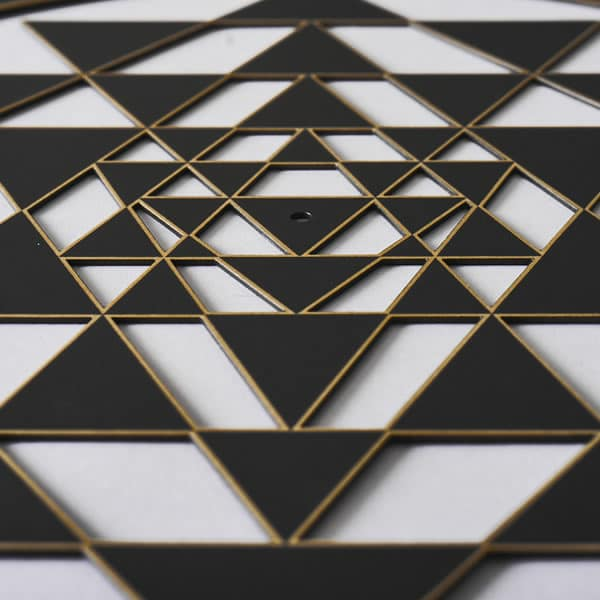 Sri Yantra black with gold trim
