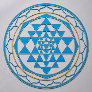 Sri Yantra Blue with gold trim