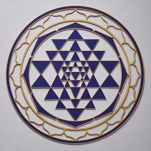 Sri Yantra Indigo with gold trim