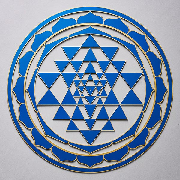 Sri Yantra Personalised Plate Dark Blue with gold trim
