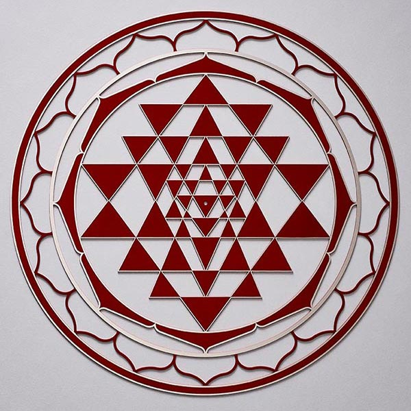 Sri Yantra Red with silver trim